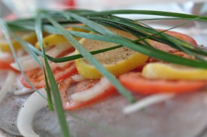 Barramundi with Tomato, Onion, Lemon and Chives