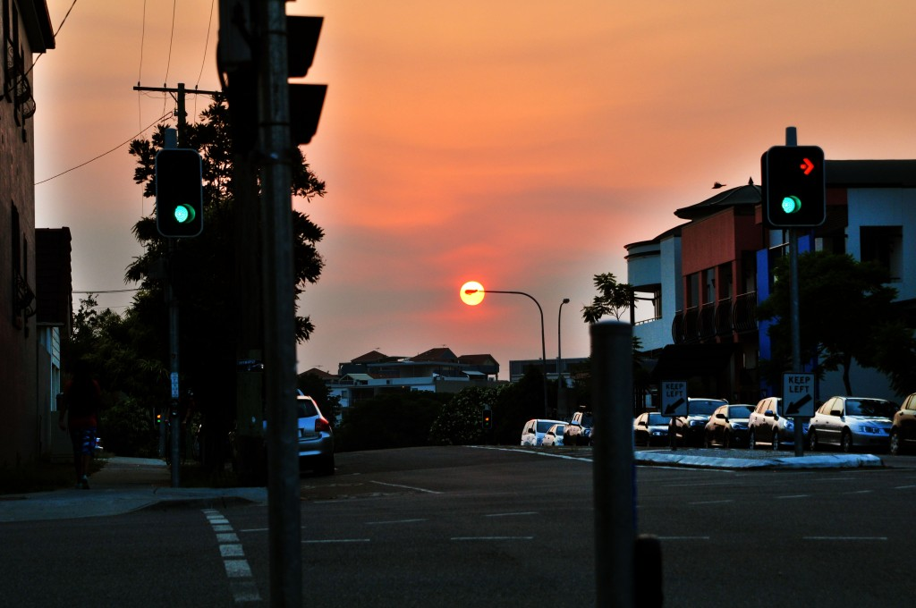 Sunset in West End with smoke from Fires on Stradbroke Island
